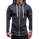 Sportswear Mens Hoodie Pure Color Zip-Fly Long Sleeves Slim Fit Drawcord Hoodie