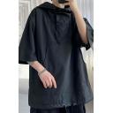 Men Street Style Hoodie Solid Color Kangaroo Pocket Drawstring Bottom 3/4 Sleeve Oversized Hoodie