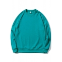 Fancy Mens Sweatshirt Pure Color Long Sleeves Round Neck Relaxed Fit Sweatshirt