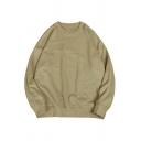 Popular Pure Color Sweatshirt Rib Cuffs Long Sleeve Round Neck Pullover Sweatshirt for Men