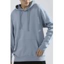 Modern Pure Color Sweatshirt Long Sleeve Drawstring Kanga Pocket Detail Pullover Crew Neck Pullover Sweatshirt for Men