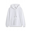 Basic Men's Hooded Pure Color Long-Sleeved Drawstring Pocket Detail Relaxed Fit Hoodie