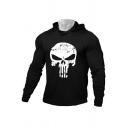Sportswear Mens Hoodie Skull Printed Long Sleeves Slim-Fitted Hoodie