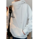 Street Style Hoodie Solid Color Drawstring Pouch Pocket Long Sleeve Loose Hoodie for Men