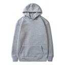 Casual Men's Hoodie Solid Color Long Sleeve Pullover Drawstring Hoodie
