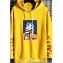 Fashion Mens Hoodie Comic Print Long-Sleeved Kanga Pocket Regular Fit Drawstring Hoodie