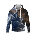 Stylish Sweatshirt 3D Wolf Print Drawstring Long Sleeve Relaxed Hooded Hoodie for Guys