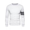 Casual Sweatshirt Stripe Printed Long Sleeves Round Neck Slim Fit Sweatshirt for Men