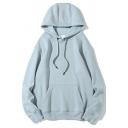 Men's Hoodie Comfortable Solid Color Long-sleeved Kanga Pocket Drawstring Loose Fit Hoodie