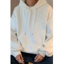 Men Comfortable Hoodie Solid Color Drawstring Kangaroo Pocket Long Sleeve Loose Fit Hoodie