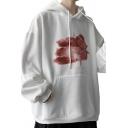 Creative Floral Print Sweatshirt Rib Cuffs Long-Sleeved Round Neck Sweatshirt for Men