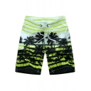 Edgy Men's 3D Tropical Patterned Drawstring Waist Relaxed Fit Shorts
