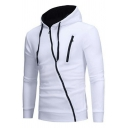 Sportive Hoodie Solid Drawstring Oblique Zipper Long Sleeve Regular Fitted Hoodie for Men