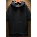 Edgy Mens Hoodie Plain Patchwork Front Pocket Drawstring Short Sleeve Relaxed Hoodie
