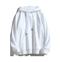 Fashionable Solid Color Long Sleeve Pullover Loose Fit Drawstring Hoodie for Men