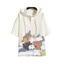 StreetStyle Mens Hoodie Cat Cartoon pattern Short Sleeves Drawstring Regular Hoodie