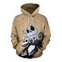 Trendy Mens Hoodie Cartoon 3D Printed Long Sleeves Drawstring Pouch Pocket Design Loose Fitted Hoodie