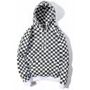 Creative Men's Hoodie Plaid Pattern Kangaroo Pocket Long-Sleeved Loose Fit Drawstring Hoodie