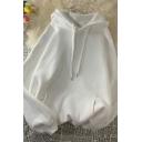 Original Men's Hoodie Pure Color Drawstring Kangaroo Pocket Decorated Long Sleeves Loose Fit Relaxed Hoodie