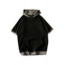 Cool Mens Hoodie Contrast Insert Big Pocket Drawstring Short Sleeves Loose Fit Hoodie