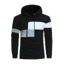Sportswear Men's Hoodie Color-Blocked Long Sleeve Slim-Fitted Drawstring Hoodie