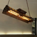 Industrial Style Linear Island Lighting 4-Bulb 31 Inchs Length Metal Suspension Pendant Light for Bar in Rust
