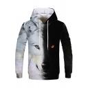 Men Cozy Hoodie Wolf Pattern Drawcord Kanga Pocket Long-sleeved Loose Fit Hoodie