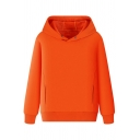 Simple Hoodie Solid Color Long-sleeved Soft Cotton High Neck Kangaroo Pocket for Guys