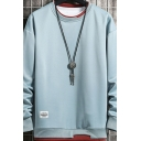 Trendy Pure Color Sweatshirt Crew Neck Rib Cuffs Long Sleeves Pullover Loose Fit Sweatshirt for Men