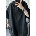 Fashion Mens Hoodie Solid Color Half Sleeve Loose Fit Button Drawstring Hoodie