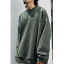 Modern Mens Sweatshirt Solid Color Long Sleeves Round Neck Loose Fit Sweatshirt