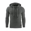 Men's Sporty Hoodie Solid Color Long Sleeve Drawstring Slim Hoodie