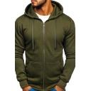 Mens Simple Hoodie Solid Color Kangaroo Pocket Long Sleeve Slimming Drawcord Hooded Sweatshirt