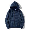 Street Style Mens Hoodie Camouflage Print Kangaroo Pocket Zipper Long Sleeves Loose Fit Drawcord Hoodie
