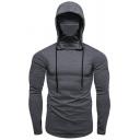 Popular Mens Hoodie Solid Color Long Sleeve Slim-Fitted Drawstring Hoodie