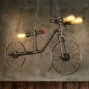 Steampunk Bike Shaped Pipe Pendant Lamp 3 Bulbs 38 Inchs Length Metal Hanging Island Light in Bronze