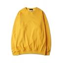 Men's Street Look Sweatshirt Solid Color Long-Sleeved Round Neck Pullover Sweatshirt