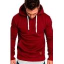 Casual Hoodie Solid Color Long Sleeves Regular Fit Drawcord Hoodie for Men