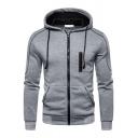 Modern Men's Hoodie Contrast Panel Zip up Pocket Detail Long-Sleeved Slim Drawstring Hoodie