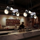 Motorcycle Shaped Pipe Pendant Lamp Single Bulb Metal Hanging Island Light with Glass Shade