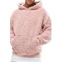 Men Soft Hoodie Solid Color Plush Drawcord Kangaroo Pocket Long Sleeves Loose Hoodie
