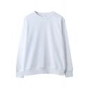 Guys Simple Sweatshirt Plain Long Sleeve Crew Neck Relaxed Sweatshirt Top