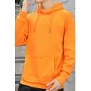 Basic Mens Hoodie Solid Color Drawstring Detail Long Sleeve Regular Fit Hoodie