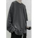 Retro Mens Sweatshirt Patchwork Rib Cuffs Long-sleeved Round Neck Loose Fit Sweatshirt
