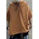 Street Look Hoodie Solid Color Half-Sleeved Loose Fit Drawstring Hoodie for Men