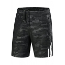 Men Breathable Shorts Camo Printed Drawstring Elastic Waist Pocket Detailed Straight Fitted Shorts