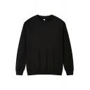 Stylish Sweatshirt Solid Color Long-Sleeved Crew Neck Pullover Sweatshirt for Men