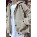 Street Style Hoodie Pure Color Rib Cuffs Long Sleeve Loose Fit Button DrawstringHoodie for Men