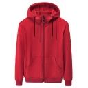 Sportswear Men's Hoodie Pure Color Big Pocket Zip-Fly Long Sleeve Regular Fitted Drawcord Hoodie