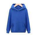Men Basic Designed Hoodie Solid Drawcord Front Pocket Rib Cuffs Long-sleeved Fit Hoodie